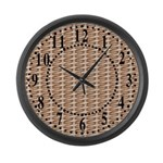Brown Wicker Look Large Wall Clock