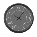 Dark Gray Linen Look Large Wall Clock