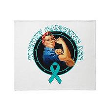 Kickin' Ovarian Cancer's Ass Throw Blanket