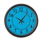 Cyan Linen Look Large Wall Clock