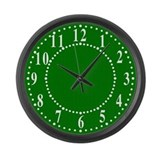 Dark Green Linen Look Large Wall Clock