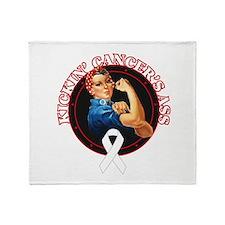 Kickin' Lung Cancer's Ass Throw Blanket