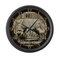 Bull elk face off Large Wall Clock