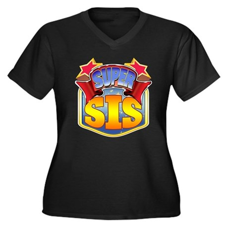 Super Sis Women's Plus Size V-Neck Dark T-Shirt