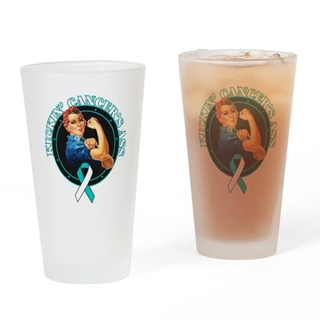 Kickin Cervical Cancer's Ass Drinking Glass