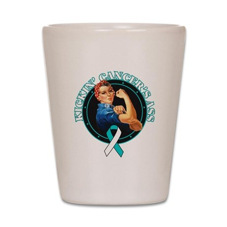Kickin Cervical Cancer's Ass Shot Glass