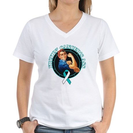 Kickin Cervical Cancer's Ass Women's V-Neck T-Shir