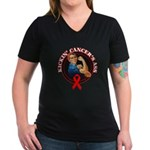 Kickin' Blood Cancer's Ass Women's V-Neck Dark T-S