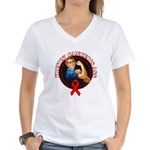 Kickin' Blood Cancer's Ass Women's V-Neck T-Shirt