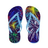 July 4th Fireworks Celebration Flip Flops