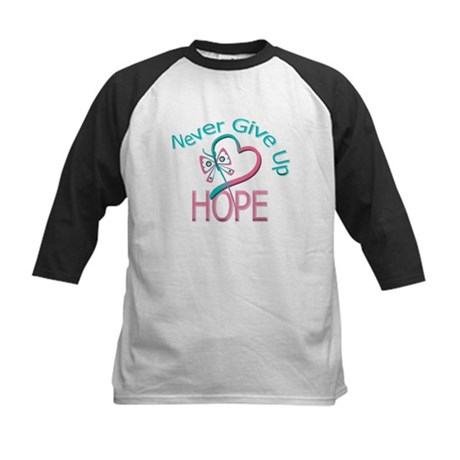 H. Breast Cancer Never Give Up Kids Baseball Jerse