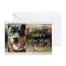 New Year - Golden Elegance - Rottie Greeting Card