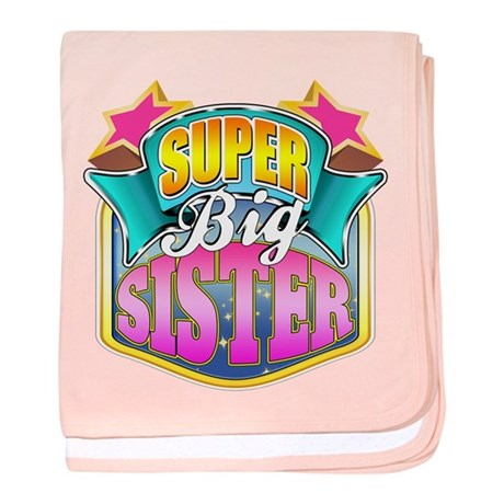 Pink Super Big Sister baby blanket