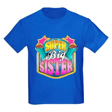 Pink Super Big Sister Kids Dark T-Shirt