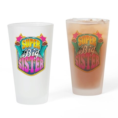 Pink Super Big Sister Drinking Glass