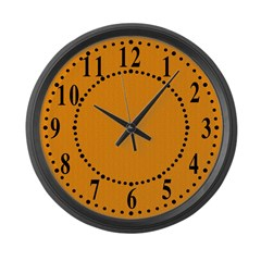 Orange Linen Look Wall Clock Large Wall Clock