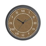Brown Parchment Roman Numeral Wall Clock