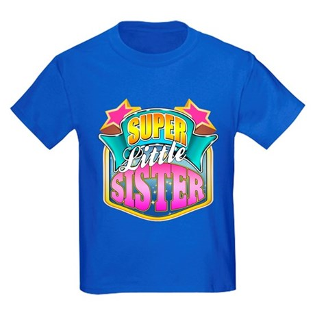 Pink Super Little Sister Kids Dark T-Shirt