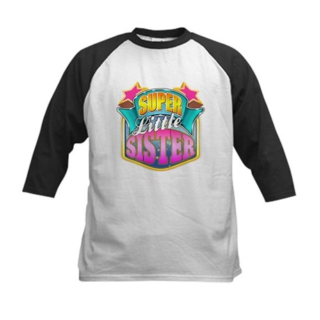 Pink Super Little Sister Kids Baseball Jersey