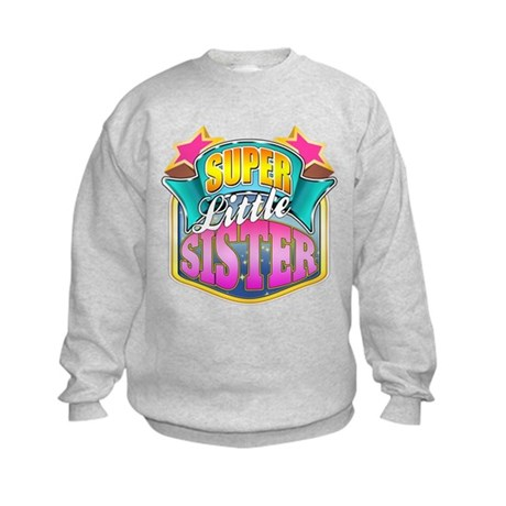 Pink Super Little Sister Kids Sweatshirt