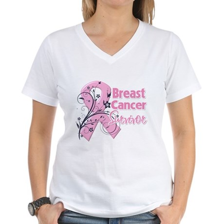 Breast Cancer Survivor Women's V-Neck T-Shirt