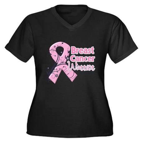 Breast Cancer Warrior Women's Plus Size V-Neck Dar