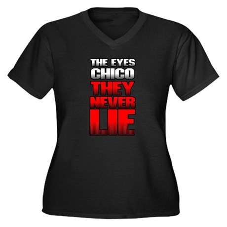 The Eyes Never Lie Womens Plus Size V-Neck Dark T