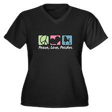 Peace, Love, Poodles Women's Plus Size V-Neck Dark