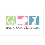 Peace, Love, Chihuahuas Sticker (Rectangle 10 pk)