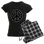 Black Peace Sign Women's Dark Pajamas