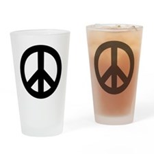 Black Peace Sign Drinking Glass