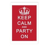 Keep Calm and Party On (Red) Postcards (Package of