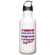 Funny 66th Birthdy designs Water Bottle
