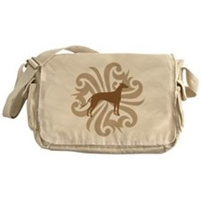 Tan & Brown Greyhound Messenger Bag