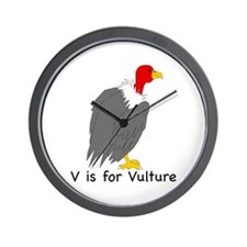 V is for Vulture Wall Clock
