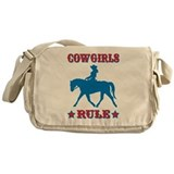 Red &amp; Blue Cowgirls Rule Messenger Bag