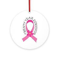 20 Year Survivor Breast Cancer Daisy Ornament (Rou