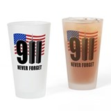 9-11 Never Forget Drinking Glass