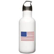 Snowboarder Makes up the American Flag Water Bottle