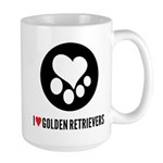 Large i heart golden retrievers coffee mug