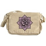 Purple Om Lotus Blossom Messenger Bag