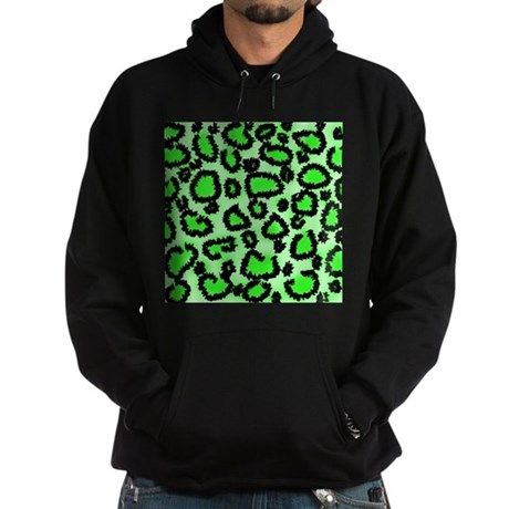 Bright green animal print Hoodie (dark)