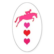 jumping horse & hearts Oval Decal