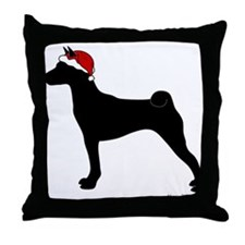 Santa Basenji Throw Pillow
