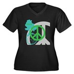 OYOOS Peace design Women's Plus Size V-Neck Dark T