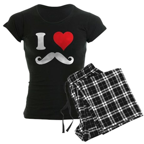 I HEART MOUSTACHES LOVE Women's Dark Pajamas