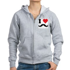 I LOVE DARK MOUSTACHES Women's Zip Hoodie