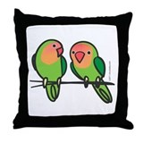 Peach-Faced Lovebirds Throw Pillow