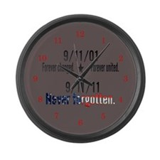 9-11 / United Never Forgotten Large Wall Clock