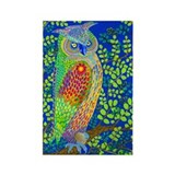 Rainbow Owl Rectangle Magnet